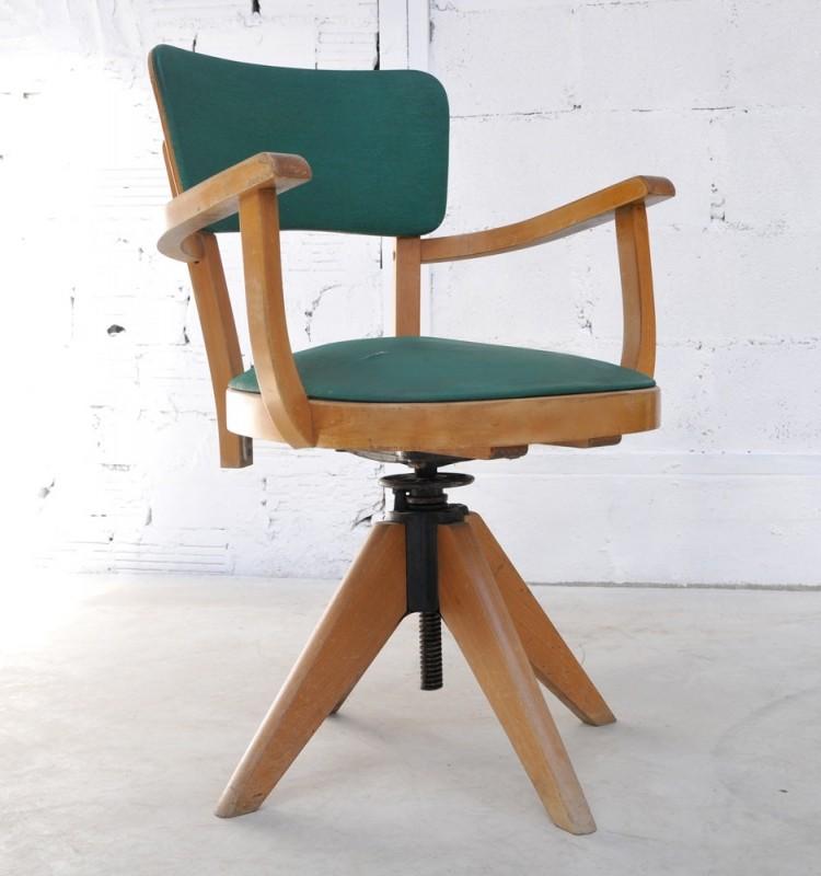 Fauteuil de bureau en moleskine fauteuil ancien et vintage - Chaise de bureau antique ...