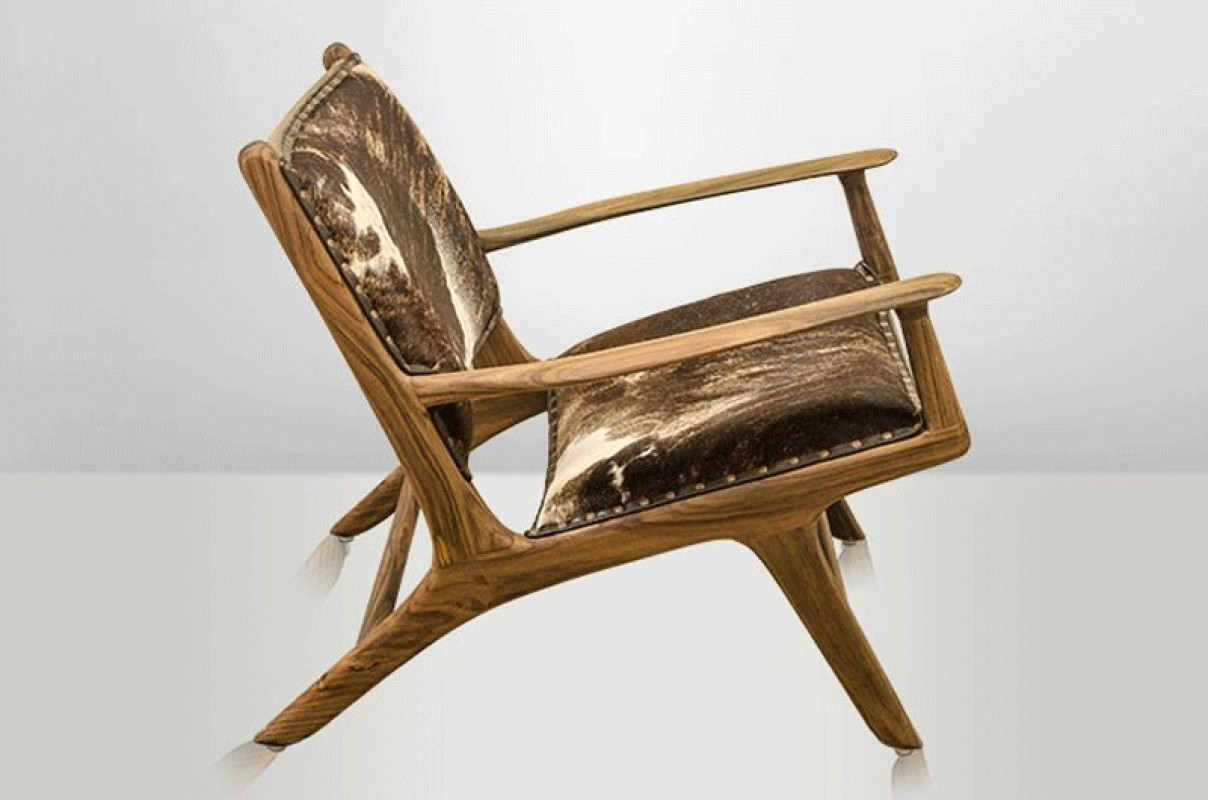 vintage armchair, vintage danish armchair, cow skin ...