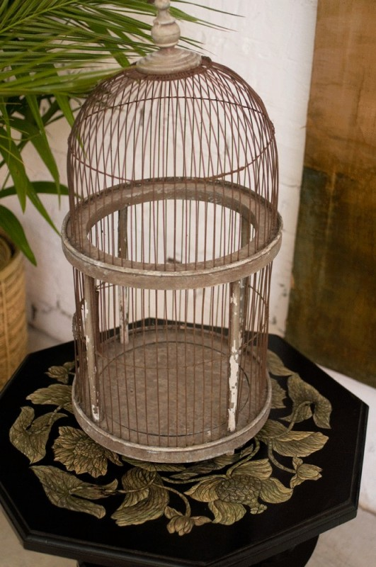 Vintage bird cage shabby chic bird cage retro bird cage old bird cage vintage wood bird cage for Cages a oiseaux decoratives