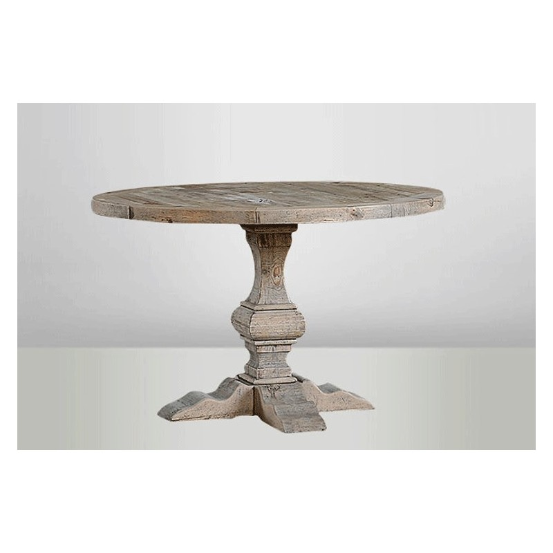 Round wooden table round monastery table round table shabby chic table - Table 120 cm ...