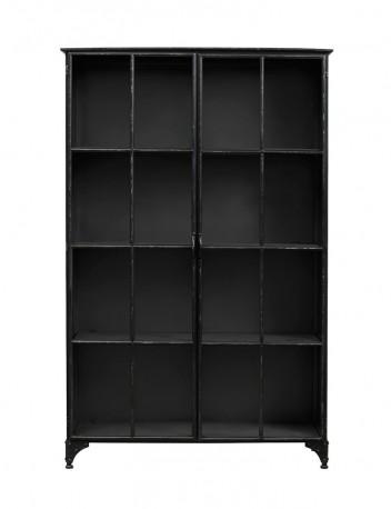 grande biblioth que vitrine ernst en m tal noir de style vintage industriel. Black Bedroom Furniture Sets. Home Design Ideas