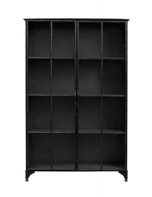 grande biblioth que vitrine ernst en m tal noir de style. Black Bedroom Furniture Sets. Home Design Ideas