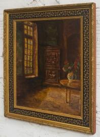Intérieur en automne - Oil on Wood