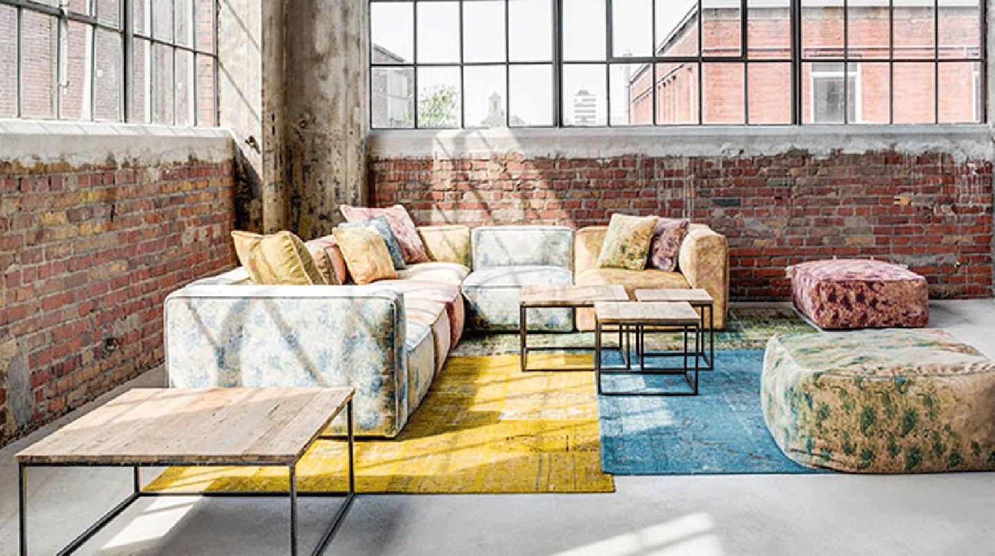 fauteuil d 39 angle velours impression vintage retro. Black Bedroom Furniture Sets. Home Design Ideas