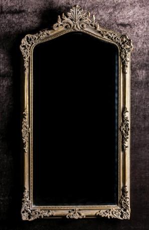 Miroir regina cadre en bois dor finition patin par le for Grand miroir large
