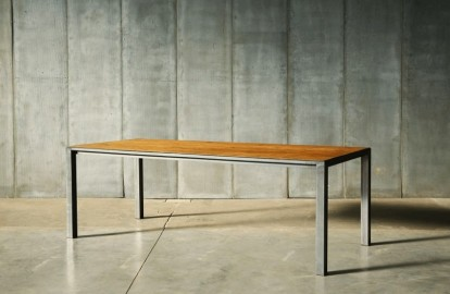 Table de repas Andy - Teck & Métal - 220 cm