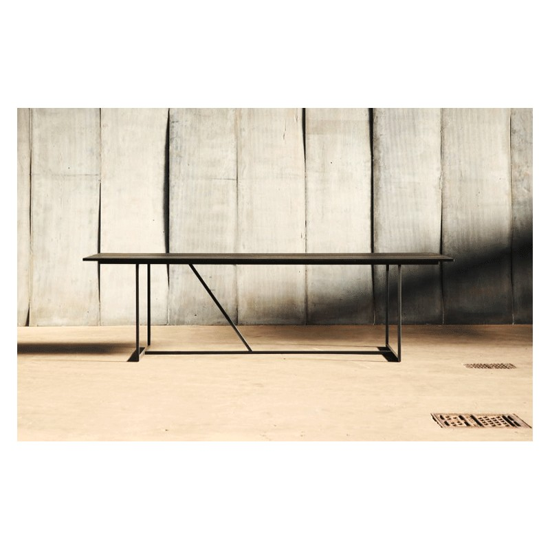 dining table w oak metal 200 cm arteslonga. Black Bedroom Furniture Sets. Home Design Ideas