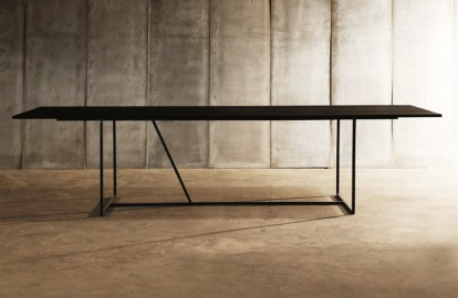 Dining Table W - Black Oak & Metal - 250 cm