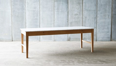 Conception innovante edfab 1682a table en marbre, bois, chêne, cuisine, table contemporaine, table de  cuisine, table en bois, plateau marbre, carrare