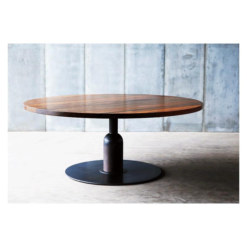 Magnifique table ronde r alis e artisanalement en noyer d - Table ronde 180 cm diametre ...