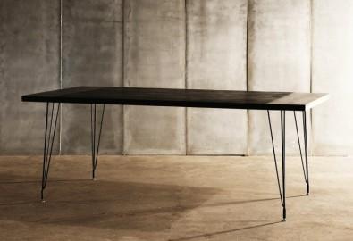 Table de Repas Board, Teck Recyclé et Métal - 200cm