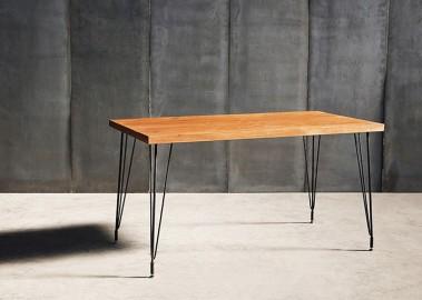 Table de Repas Tango - Teck et Métal - 140 cm