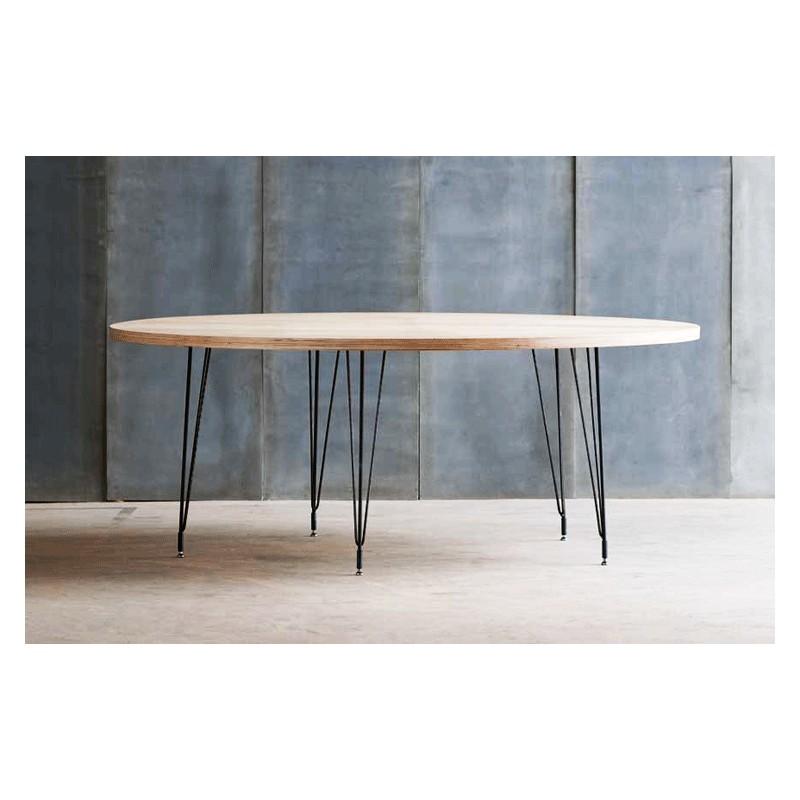 Belle table ronde en bois et m tal tango au design moderne pour votre salle manger - Table ronde bois metal ...