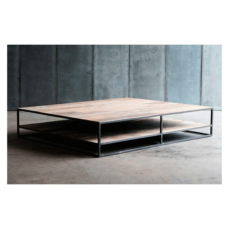 Table Basse Square Teck Brut 100 Cm Arteslonga