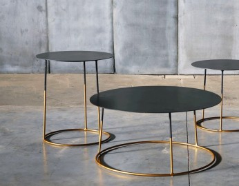 Metal coffee table atole gold 45 cm by 50 cm high for Table basse hauteur 50 cm