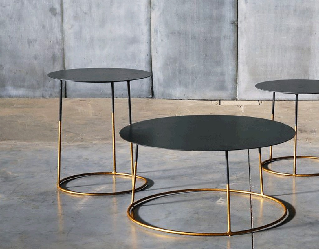 Metal coffee table atole gold 45 cm by 50 cm high for Table basse scandinave hauteur 50 cm