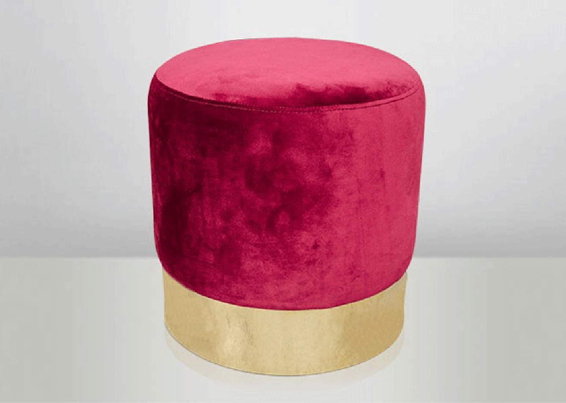 Stool In Velvet Raspberry Color And Stainless Steel Gold