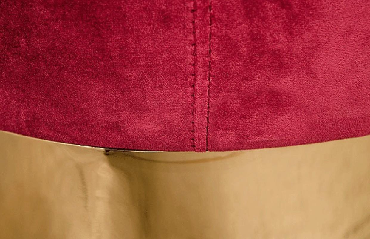 Stool In Velvet Raspberry Color And Stainless Steel Gold