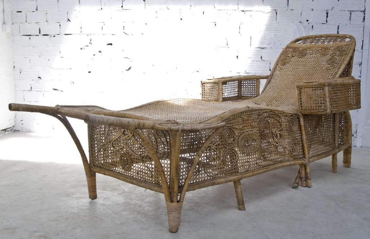 M ridienne chaise longe rotin osier ancienne 1900 for Meubles en rotin et osier