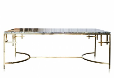 Table Basse Ava - Marbre et Acier - 130 cm