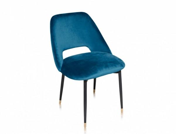 Chaise Healey - Velours Bleu Pétrole