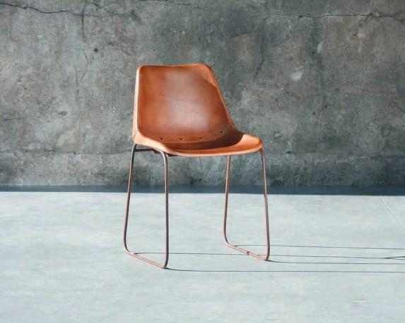 Chaises Godard en cuir vintage brown