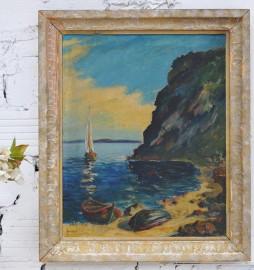 Marine, huile sur toile signée, 1947 - VENDUE