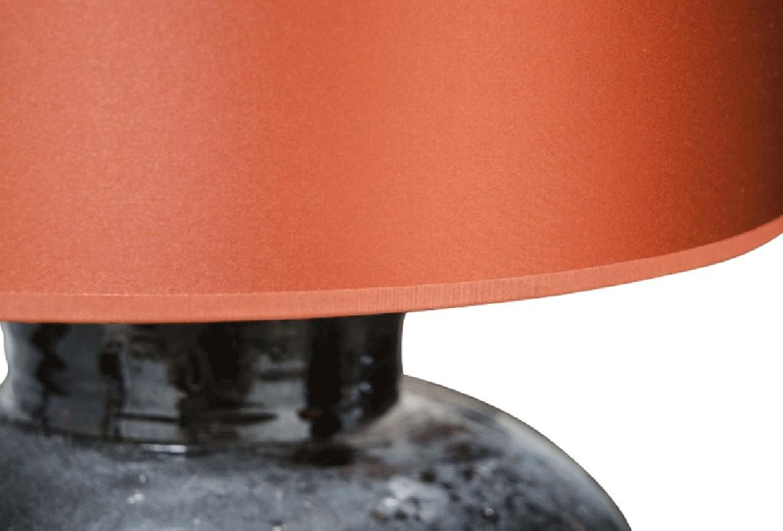 lampe de salon artisanale en c ramique maill style 70s grand abat jour rond cylindrique. Black Bedroom Furniture Sets. Home Design Ideas