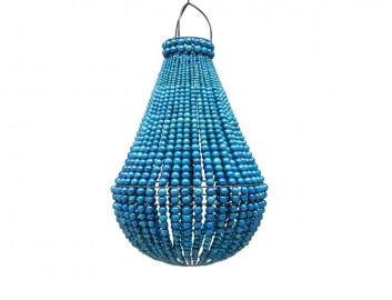 Suspension Perles Bois Indigo - ∅ 40cm