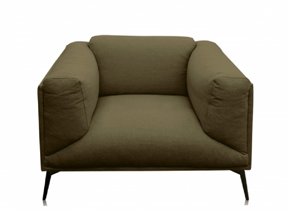 The Roger Armchair Covered With Olive Linen The Roger