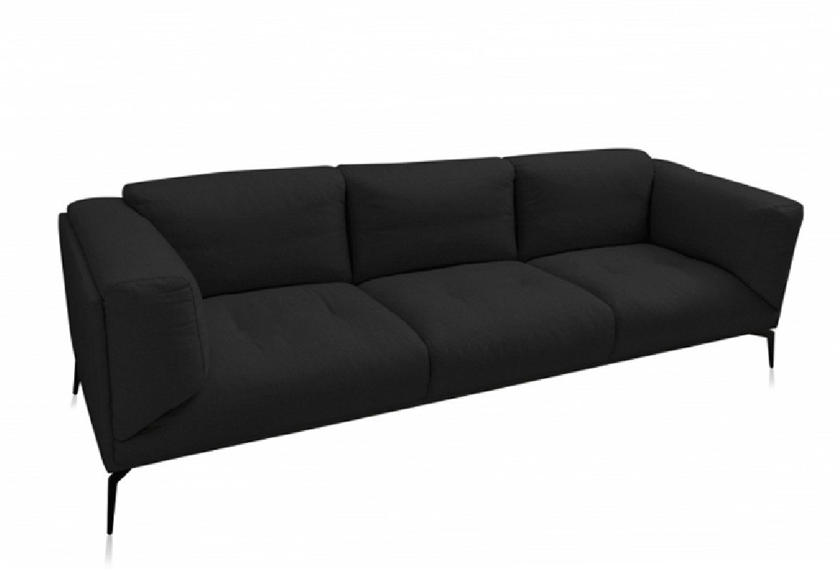 The Roger Sofa, covered with black linen, imposes us by the originality of its design, the