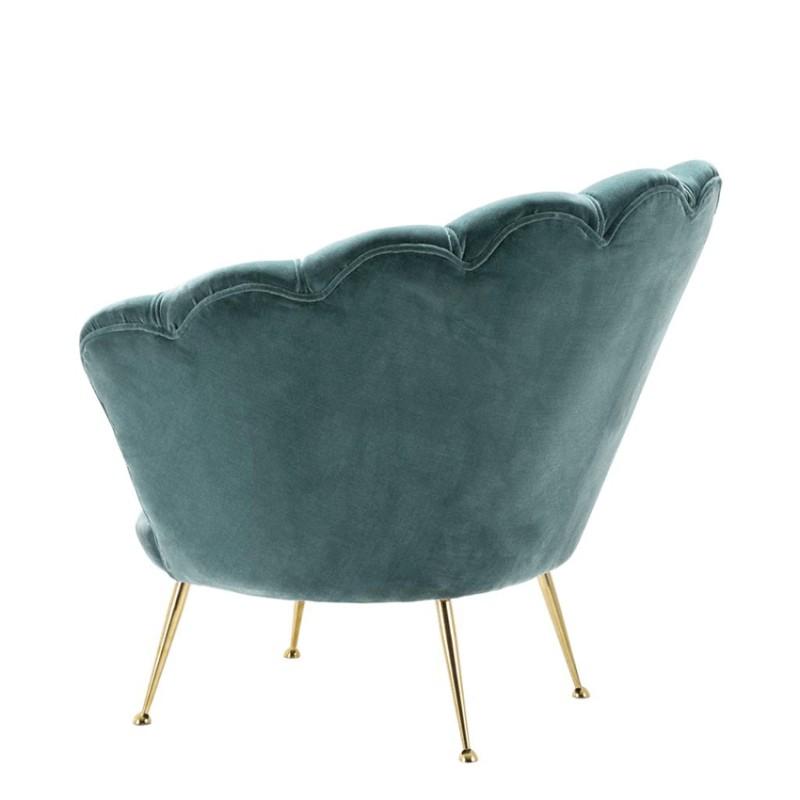superbe fauteuil velours bleu c ladon chiara dans le style vintage des ann es 50. Black Bedroom Furniture Sets. Home Design Ideas