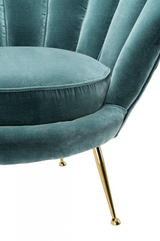 superbe fauteuil velours bleu c ladon chiara dans le style vintage des ann es 50. Black Bedroom Furniture Sets. Home Design Ideas