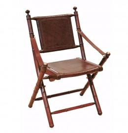 tr s belle chaise pliante cuir marron bois de teck et laiton dans style colonial l gant. Black Bedroom Furniture Sets. Home Design Ideas