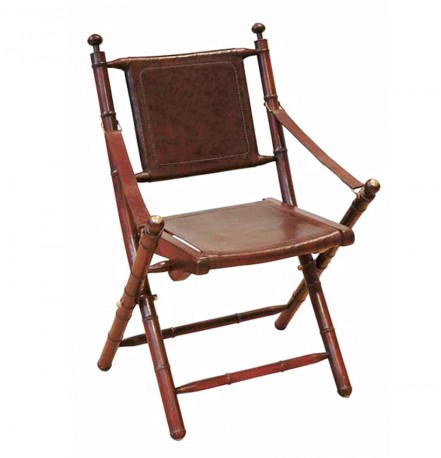 Very Nice Folding Chair In Brown Leather Teak And Brass