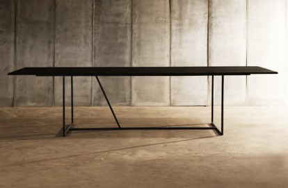 Dining Table W - Black Oak & Metal - 300 cm