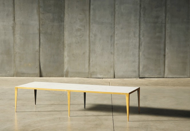 Table Basse Taïga Gold - Marbre et Métal Doré