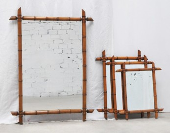 Grand miroir vintage en bambou 1920