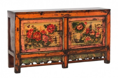 Antique Red Peonies Sideboard