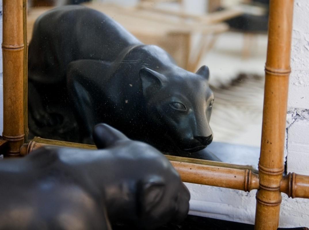 statue sculpture panth re panth re noire marbre art d co ann es 50 1950 60 unique. Black Bedroom Furniture Sets. Home Design Ideas