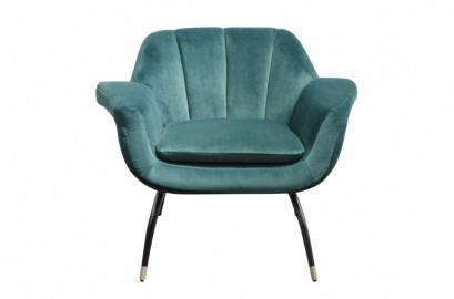 Andy, chaise en velours bleu-vert