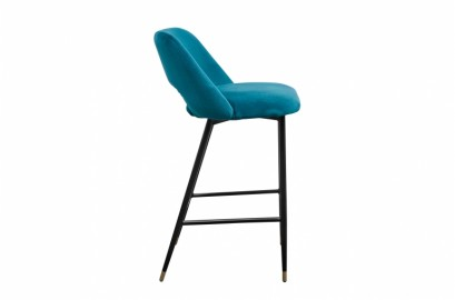 Chaise de bar Healey - Velours Bleu Pétrole