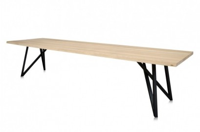 007 Dining Table, Oak Wood and Metal Legs