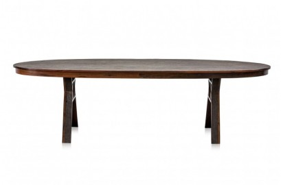 Oval Iron Wood Dining Table