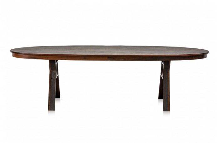 Table ovale contemporaine en bois de fer, iron wood
