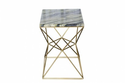 Green Marble Side Table Shiny