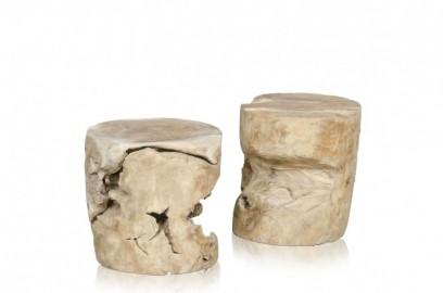 Tabouret ou table d'appoint cylindrique en bois de teck