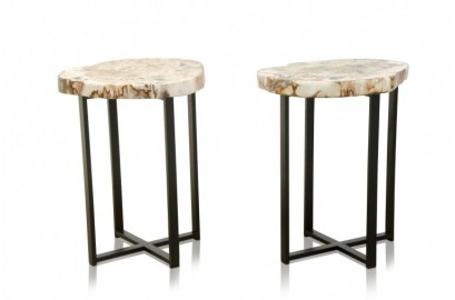 Table d'appoint bois fossilisé et métal noir