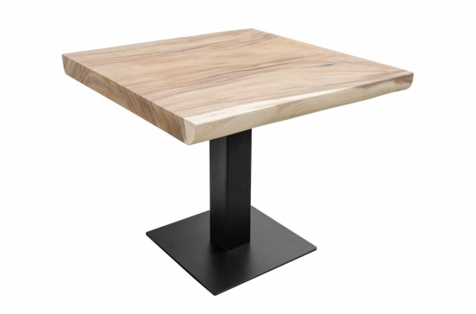 Beautiful Dolmen Pedestal Dining Table With Square Top Made Of Suar Wood And Central Base In Black Metal