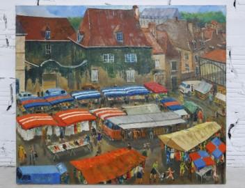 "80's oil on canvas, ""Le marché"""